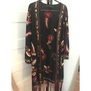Beautifully embroidered long kimono